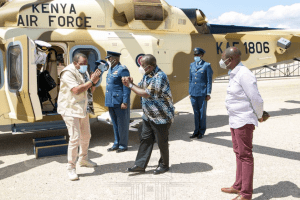 President Uhuru Kenyatta arrives at the KWS Law Enforcement Academy in Manyani, Taita Taveta County where he is scheduled to Chair a Cabinet meeting. He was recived by the Cabinet Secretary for the Ministry of Interior and Coordination of National Security, Fred Matiangi(Photo credit: Courtesy Image/State House)