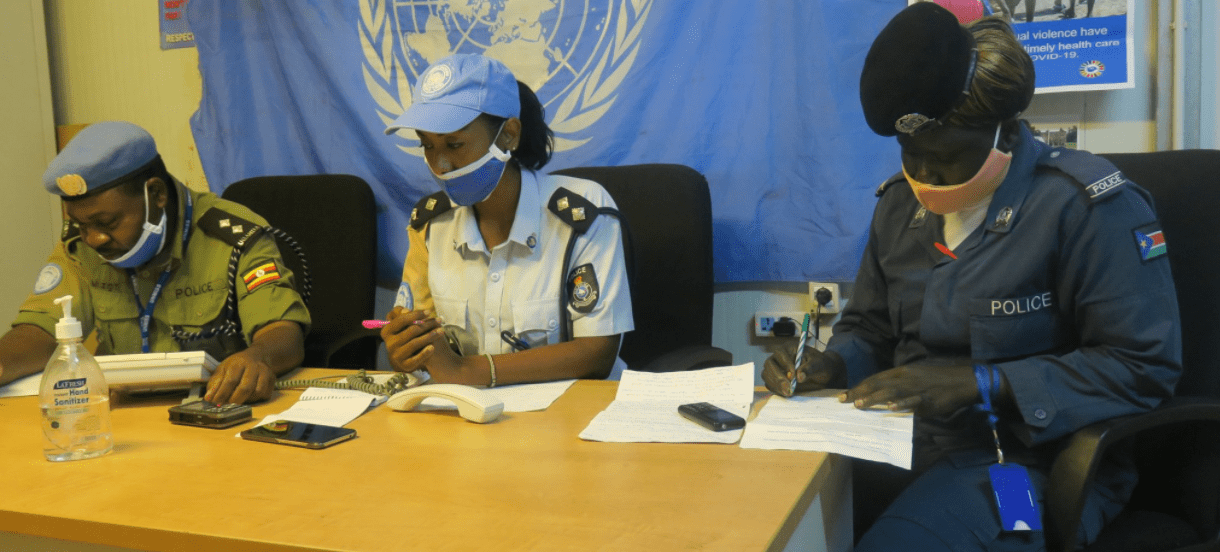 United Nations Police - UNPOL officers sensitized their local policing counterparts in Torit, Eastern Equatoria, Sep 2020(Photo credit: Moses Yakudu/UNMISS.)