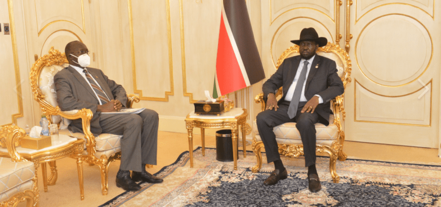 President Salva Kiir meets Minister of Road and Bridges Hon. Simon Mijok Mijak in his office on Wednesday, November 11, 2020(Photo credit: Courtesy image/Nyamilepedia)