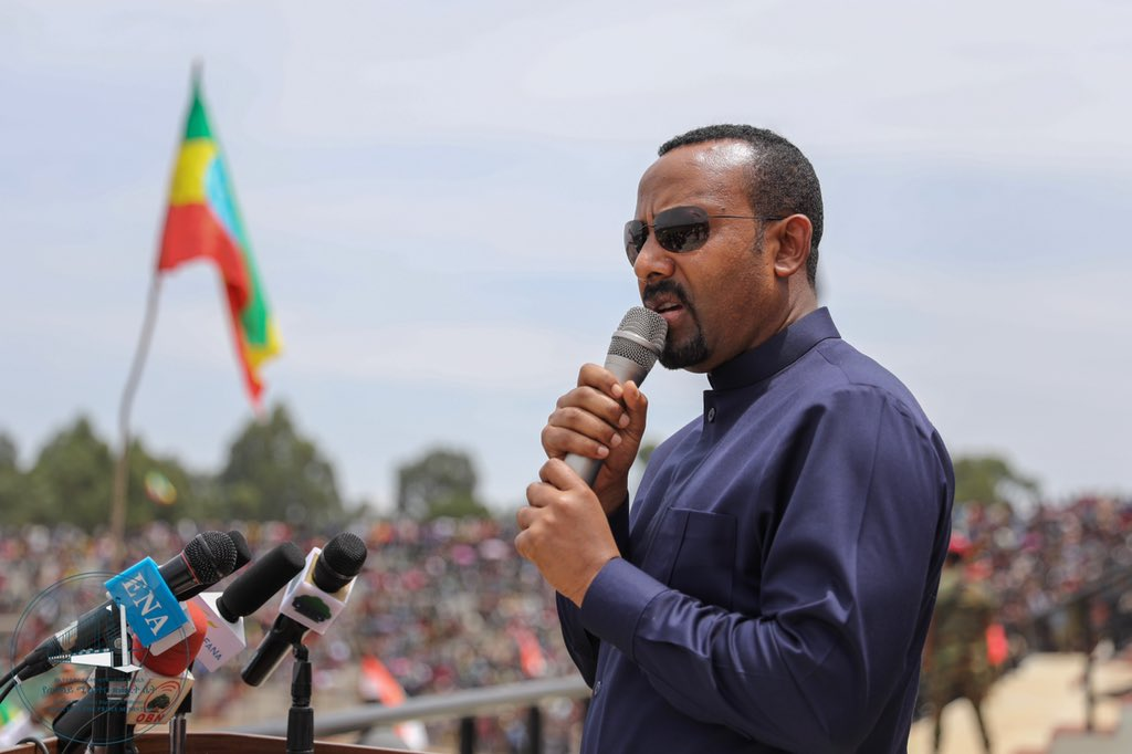Ethiopian Prime Minister Abiy Ahmed Ali addressing the military in April 2019(Photo credit: courtesy image/Nyamilepedia)