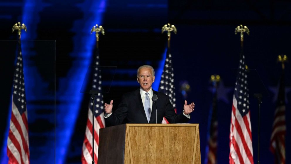 US President-elect Joe Biden delivers remarks in Wilmington, Delaware, on November 7, 2020, after being declared the winner of the presidential election (Photo credit: Jim Watson/AFP via Getty Images)