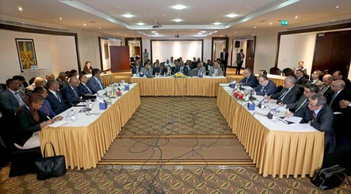 A general view shows from left to right, Ethiopian, Sudanese and Egyptian delegations taking part in a new round of talks over the Grand Ethiopian Renaissance Dam, in Khartoum, Sudan. EPA