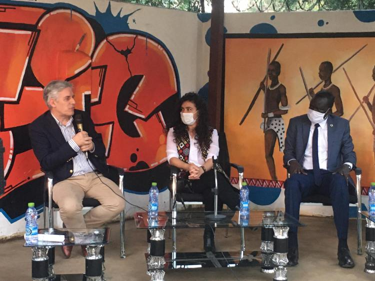 The EU Ambassador Christian Bader, Ms. Aya Chebbi, the African Union Special Envoy on Youth, and Minister Albino Bol Dhieu, Minister of Youth and Sports of the Republic of South Sudan (Photo credit: courtesy image/Nyamilepedia)