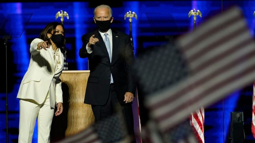 President-elect Joe Biden and Vice President-elect, Kamala Harris pointing at the crowd while giving a speech (Photo credit: courtesy image)