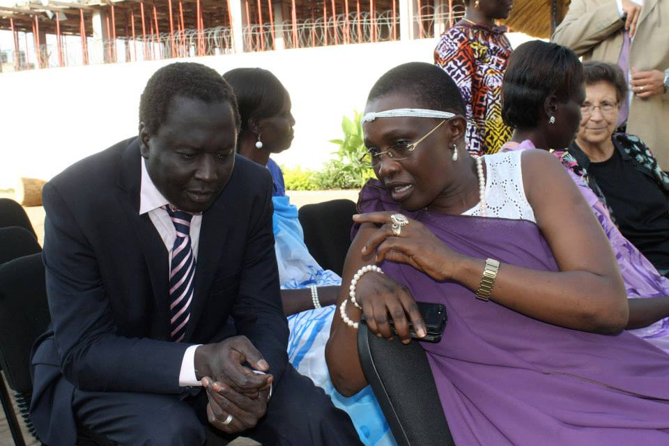 Dr. Jok Madut Jok and Anjelina Teny, the current Minister of Defense and Veteran Affairs in the past(Photo credit: courtesy image/Nyamilepedia)