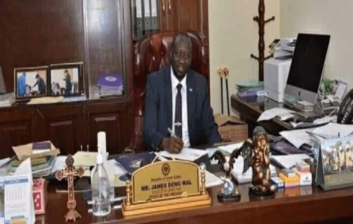 James Deng Wal, the executive director in the office of President in his office(Photo credit: supplied/Nyamilepedia)