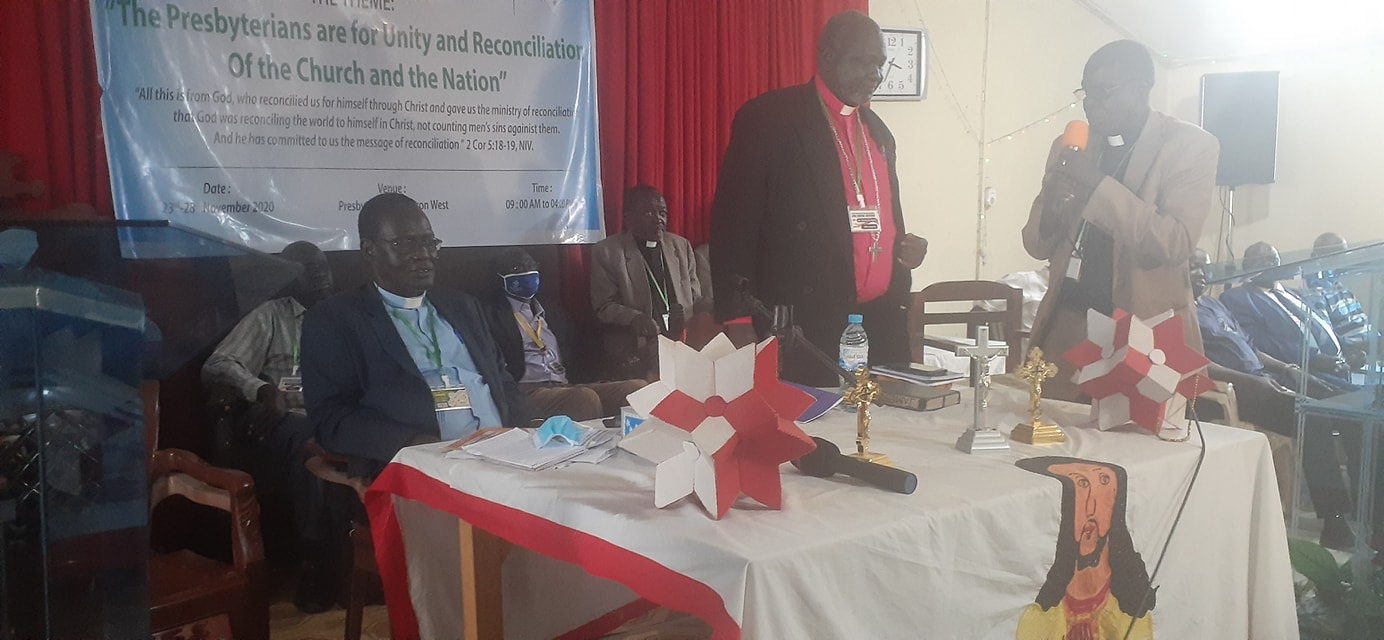 Rev. James Makuei Chuol and other leaders of the Presbyterian Church during the 34th election(Photo credit: courtesy of the PCOSS)
