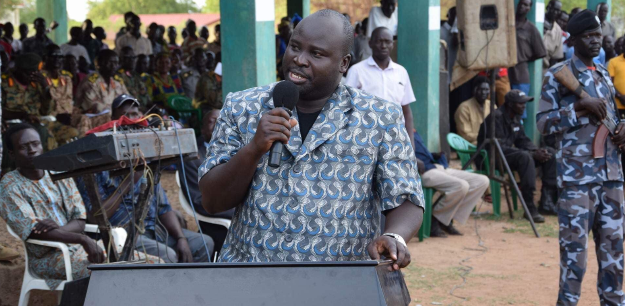 PLM-IO representative to the National Constitutional Amendment Committee (NCAC) and former governor of the defunct Imatong State, Dr. Oyet Nathaniel Pierino speaks during his leadership in Imatong State(Photo credit: SPLM/A-IO)