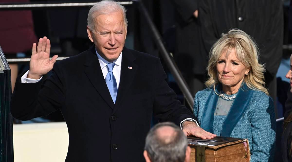 Joe Biden being sworn in as the U.S. 46th president of the United States after defeating Donald Trump(Photo credit: supplied)