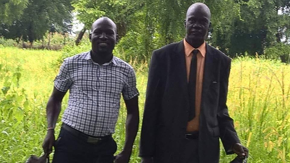 Mr. Aguer Rual and Yuanes moses in Pagak during the SPLM/A-IO struggles to maintain control of Pagak(Photo credit: file)