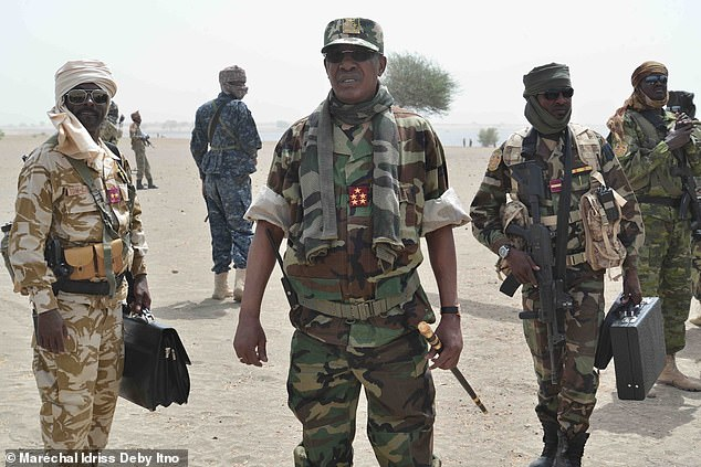 Late Chadian President Idris Deby visiting troops at the front line(Photo credit: file)