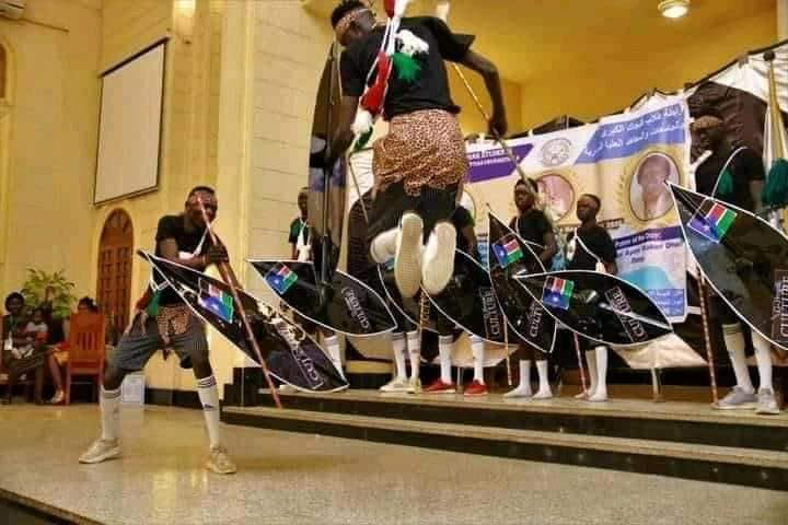 Members of Nuer Students' Union in Universities and Higher Institutions in Arab Republic of Egypt performing a cultural dance(Photo credit: courtesy image)
