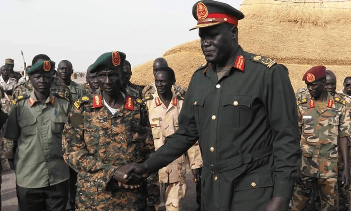 Lt. Gen. Johnson Olony Thabo and his colleagues at the front line in Upper Nile(Photo credit: courtesy image)