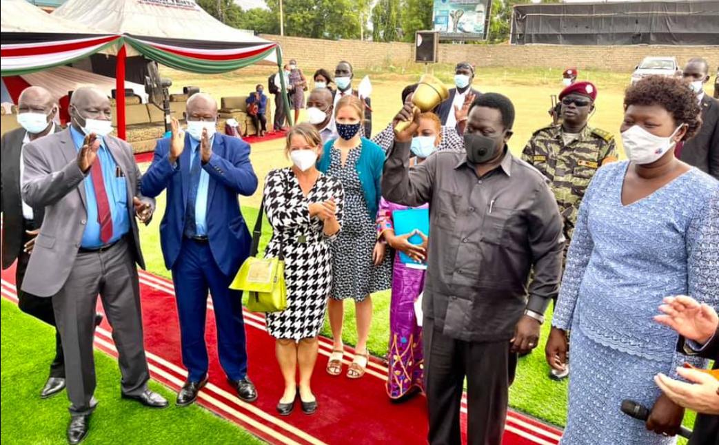 Hussein Abdelbagi, the Vice President for the service cluster, and the Minister of General Education Hon. Rebecca Awut inaugurating an event(Photo credit: courtesy image/Nyamilepedia)