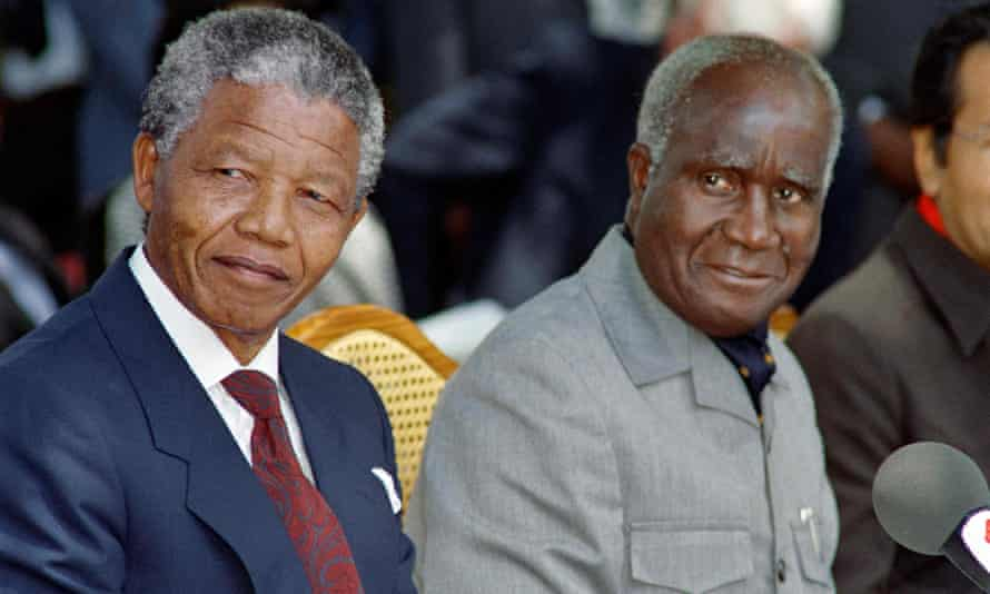 Kenneth Kaunda, right, and Nelson Mandela attending a press conference in the Zambian capital Lusaka, 1990. Photograph: Alexander Joe/AFP/Getty Images