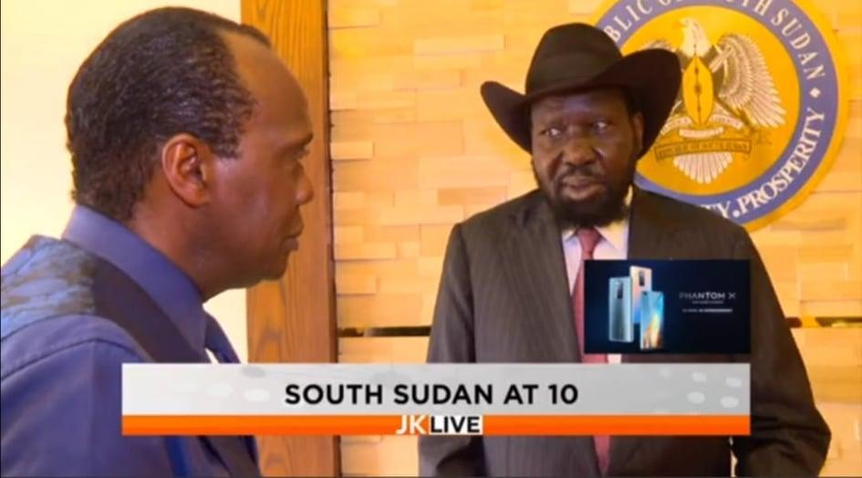 South Sudan President Salva Kiir Mayardit and Kenyan Journalist Jeff Koinange during an interview in Juba(Photo credit: file)