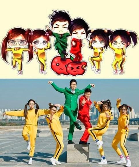 T-ara wearing bruce lee suits