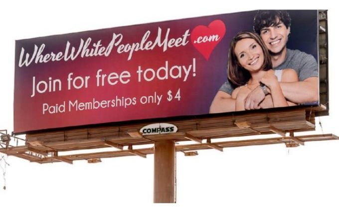 Where White People Meet website Billboards in Utah