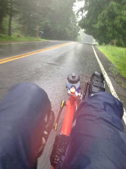 Robert Matson's tour in upstate New York continues, rain or shine. Here's the view from a Street Machine Gte recumbent bike.