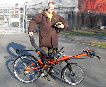Recumbent trike or bike for this good man? Michael looks enthusiastic about his new HP Velotechnik Street Machine Gte recumbent bike.