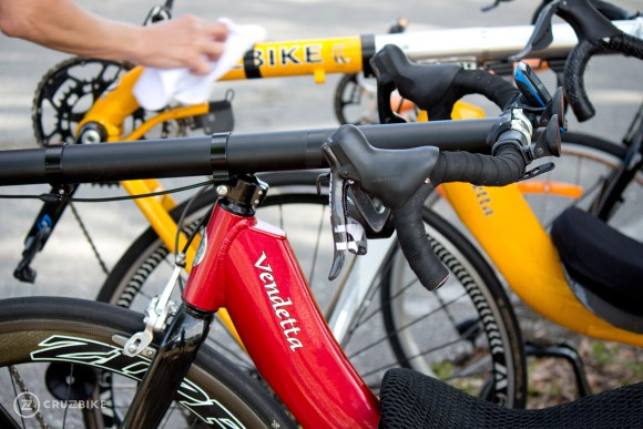 Cruzbike Vendetta recumbent bicycles before a race.