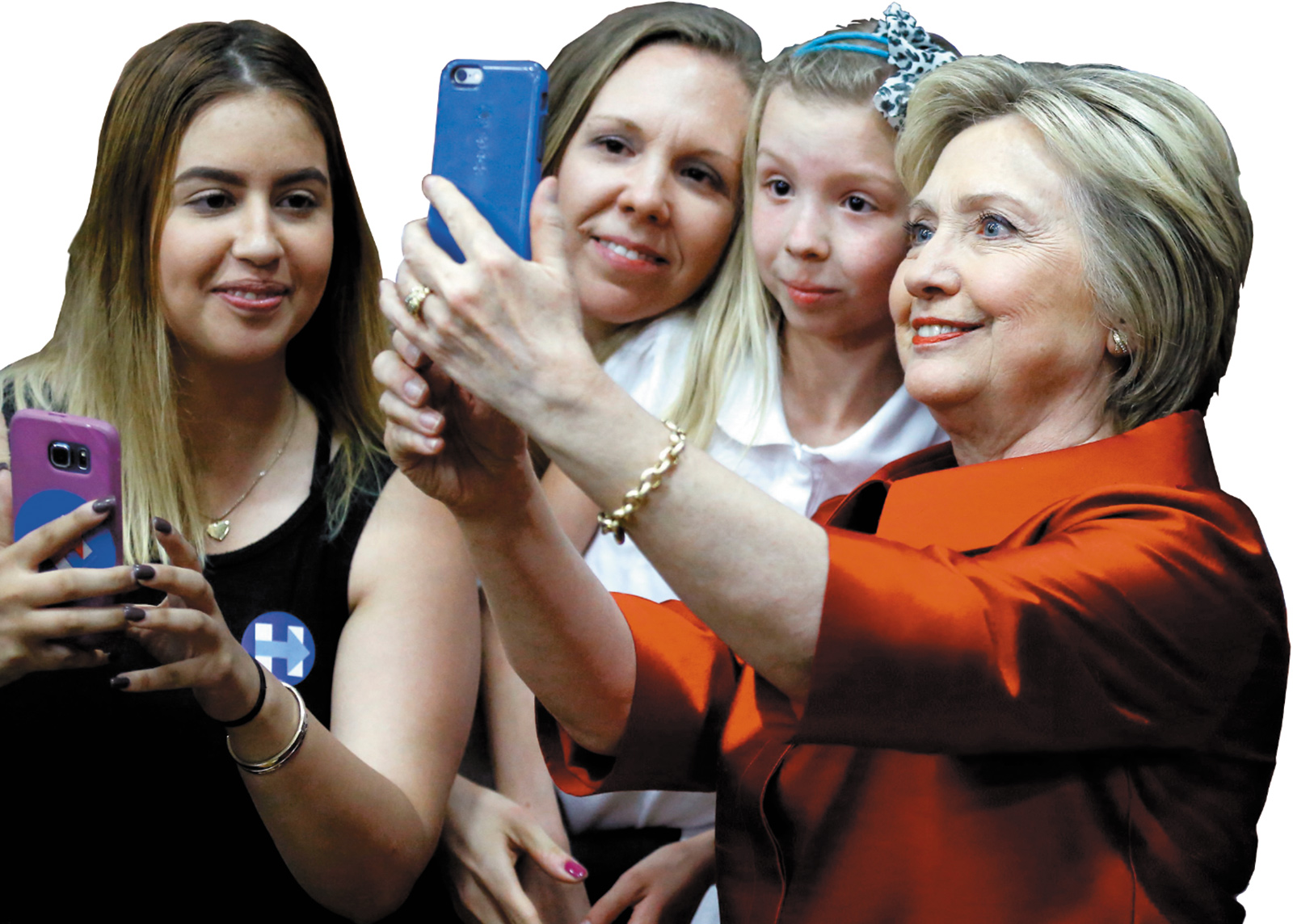 Hillary Clinton with supporters at a campaign rally in Phoenix, Arizona, March 2016