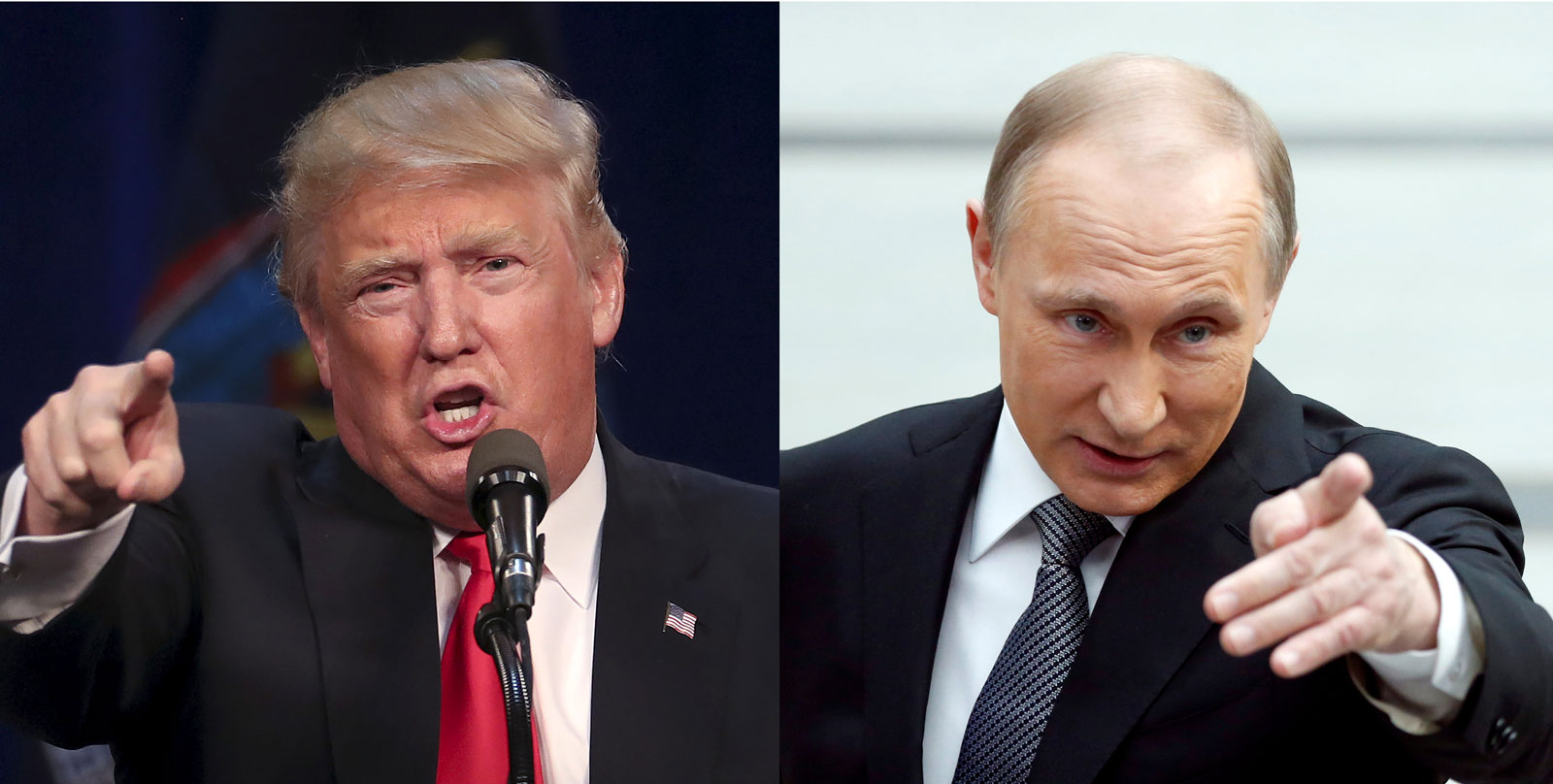 Donald Trump at a campaign rally, Syracuse, New York, April 16, 2016; Vladimir Putin at a meeting with journalists, Moscow, Russia, April 14, 2016