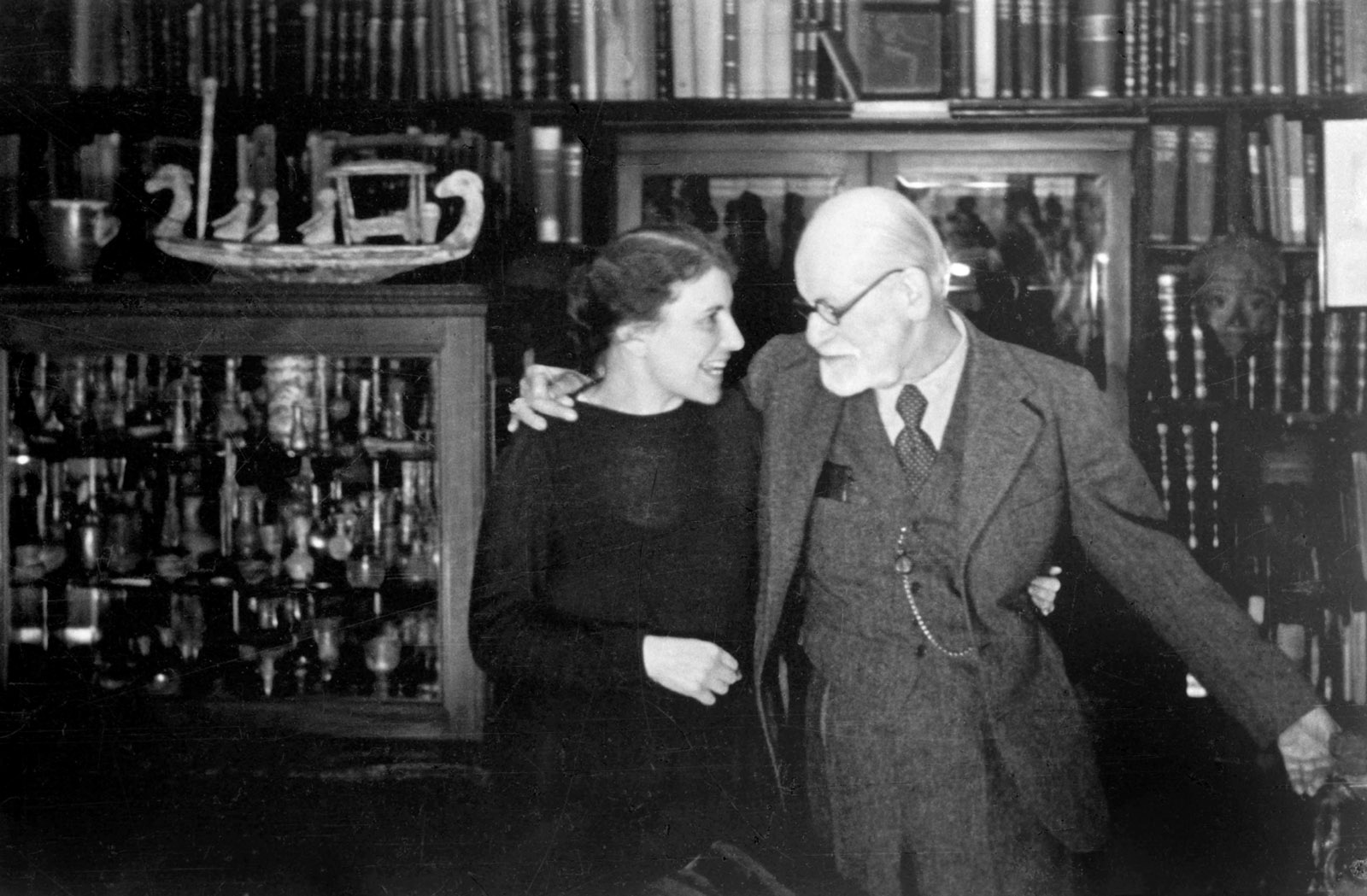 Sigmund Freud with his daughter Anna, Vienna, circa 1937; photograph by Princess Eugénie