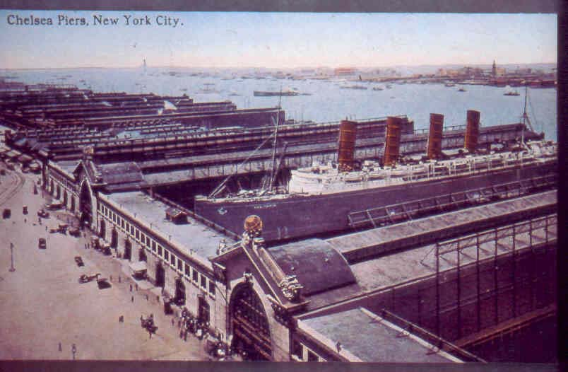 The Chelsea Piers, 900-foot long and built 1902-1910 with head houses designed by Warren & Wetmore (architects for Grand Central)