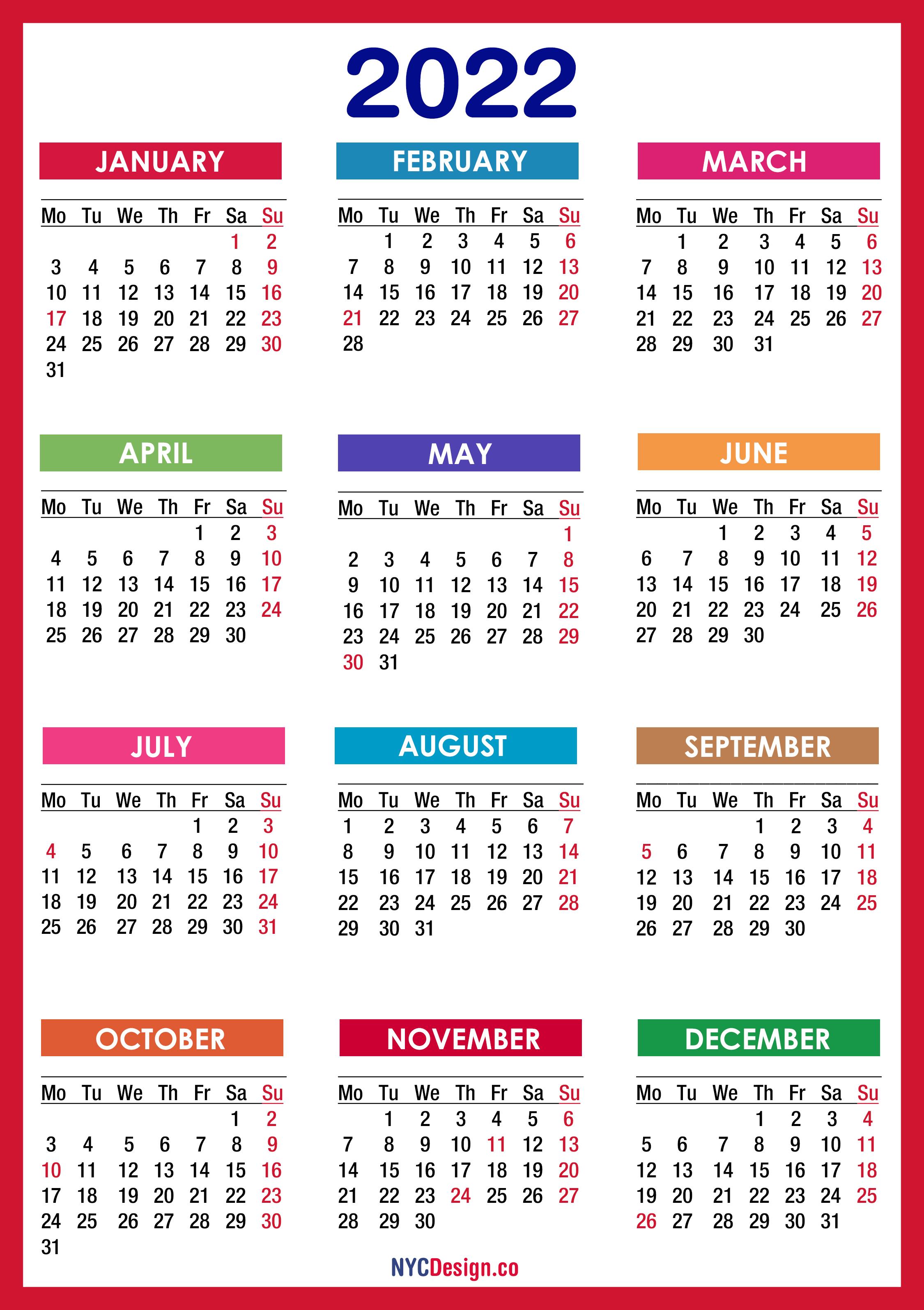 Save the calendar to your google calendar. 2022 Calendar with Holidays, Printable Free, PDF, Colorful ...