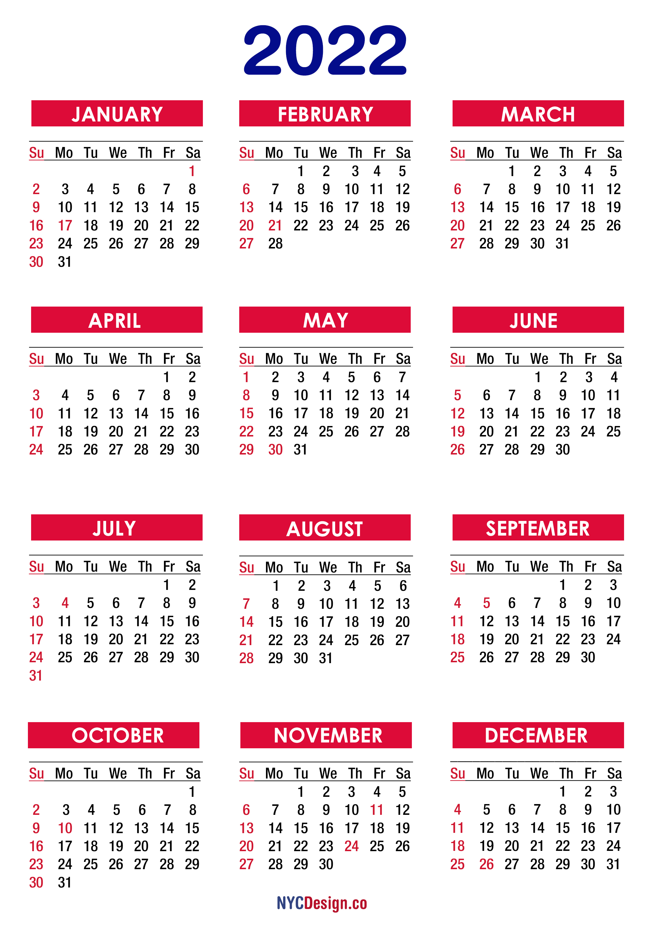 free printable 2022 weekly calendar planner in pdf, png format. 2022 Calendar with Holidays, Printable Free, PDF, Colorful ...
