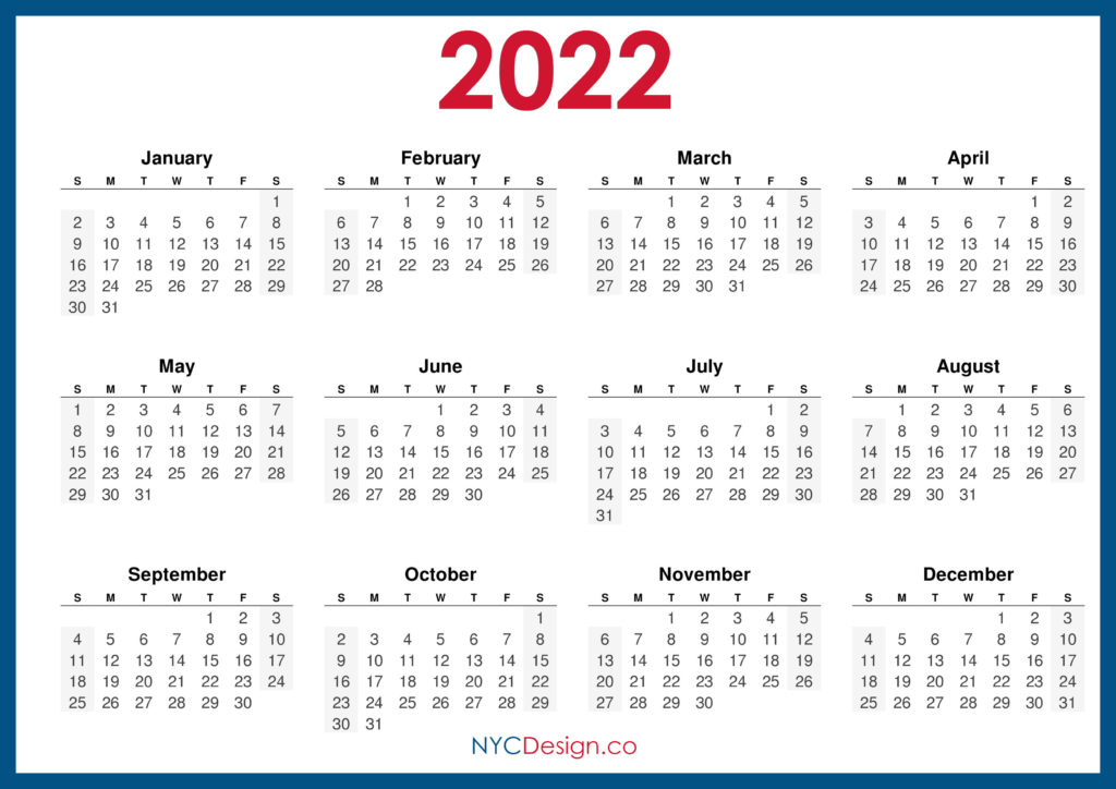Sure, digital calendars are convenient — we can take them everyw. 2022 Horizontal Calendar - NYCDesign.co | Calendars ...