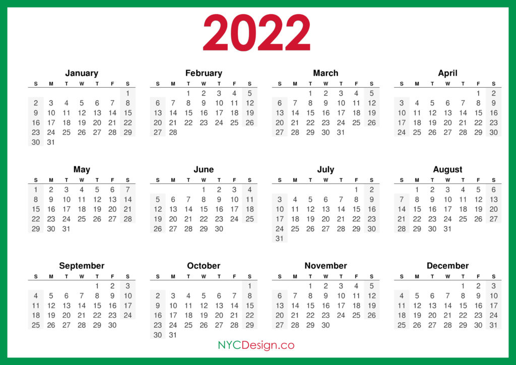 Easy to download and print, our templates are simple and stylish. 2022 Calendar - Page 4 - NYCDesign.co   Calendars ...