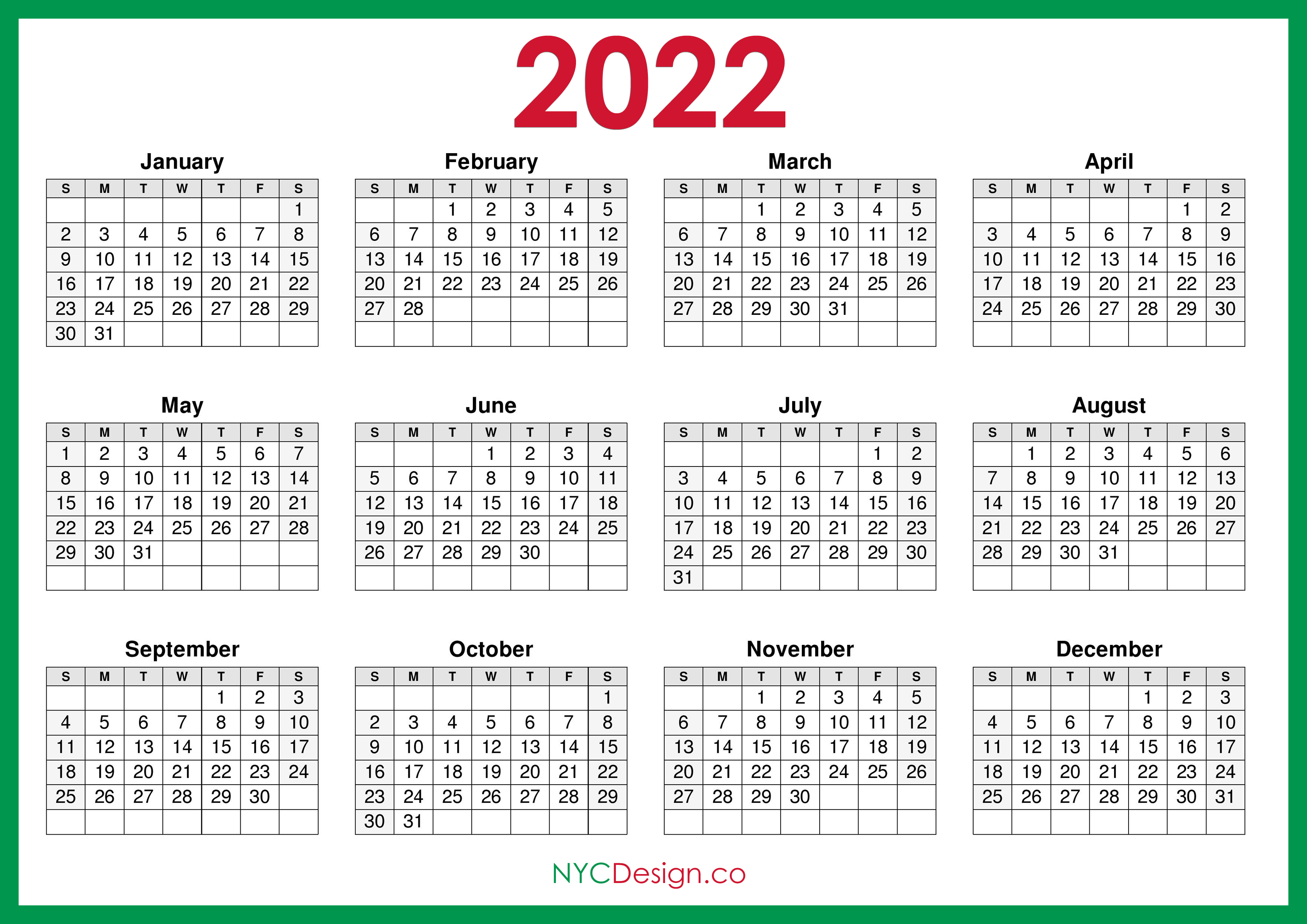 There are many types of digital printable calendar 2022, but pdf always stands out from all other digital formats. 2022 Calendar Printable Free, Horizontal, Green, HD ...