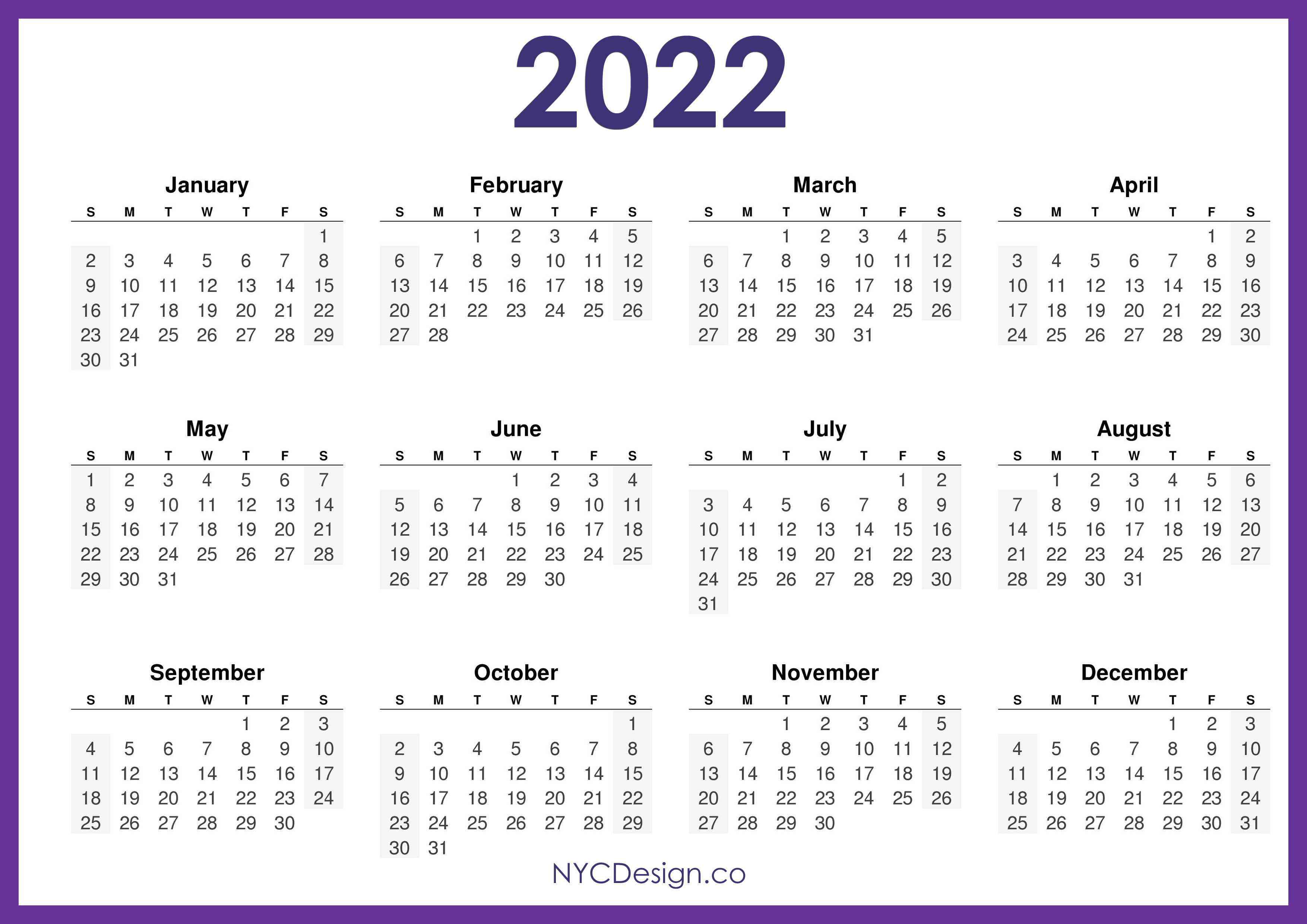Download a free, printable calendar for 2021 to keep you organized in style. 2022 Calendar Printable Free, Horizontal, Purple, HD ...