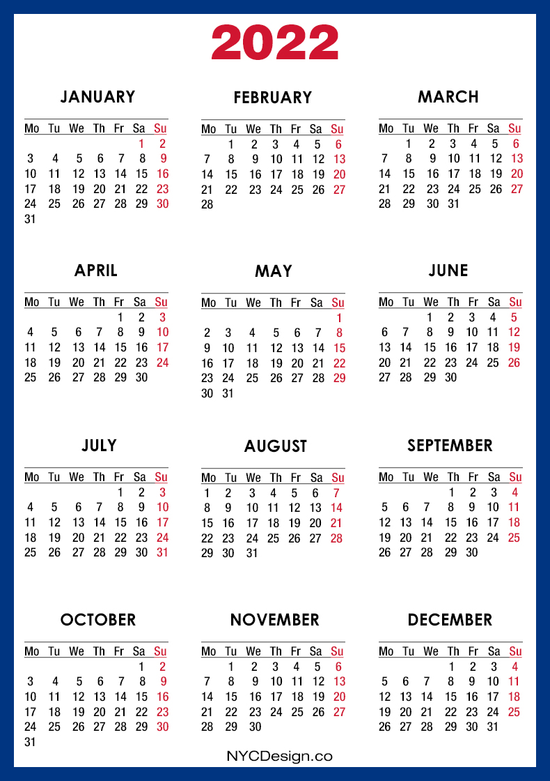 monthly calendar for the month november in year 2022. 2022 Calendar Printable Free, Blue - Monday Start ...
