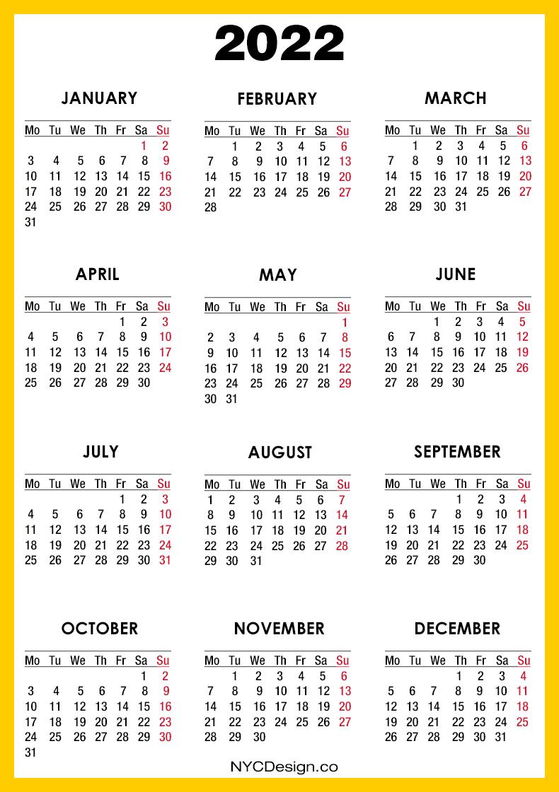 All calendars print in landscape mode (vs. 2022 Calendar Printable Free, Orange, Yellow - Monday ...