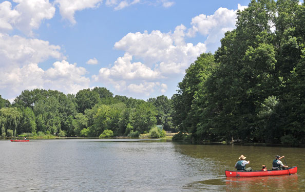 park rangers lead a canoeing adventure on the lake in a park
