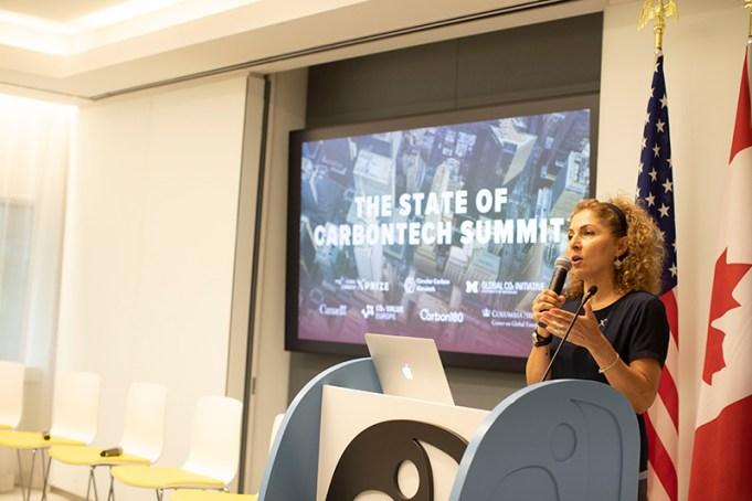 Anousheh Ansari speaking during a climate summit.