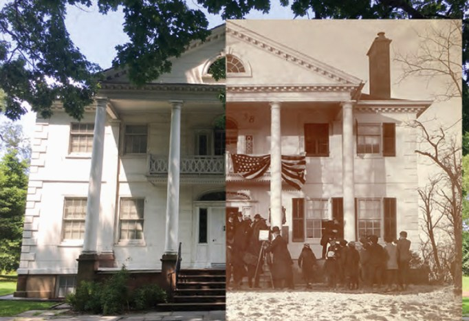 A split screen of the Morris-Jumel Mansion, with another side in an old version, what it looked like before and what it looks like currently.