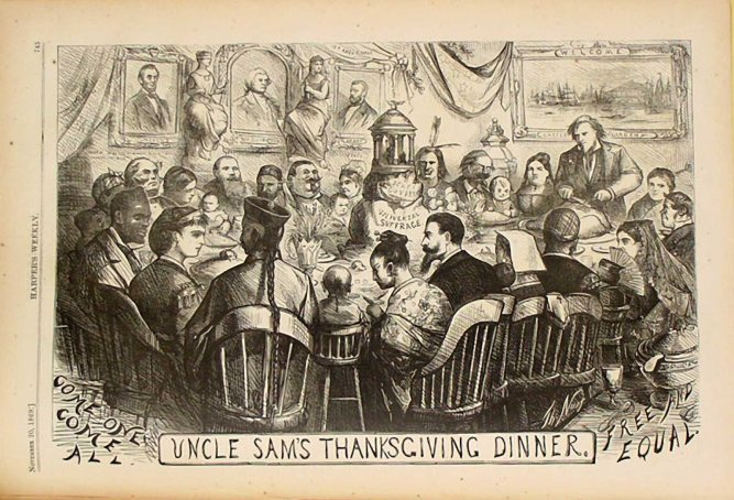 """Uncle Sam's Thanksgiving"" by Thomas Nast in Harper's Weekly, November 20, 1869."