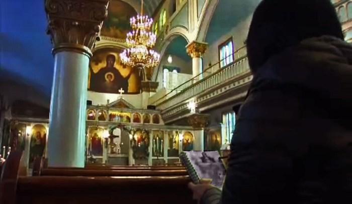 PBS TV films Journey artist sketching altar of St. Barbara Greek Orthodox Church