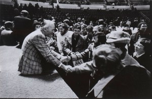 John Stott with students at Urbana 1976