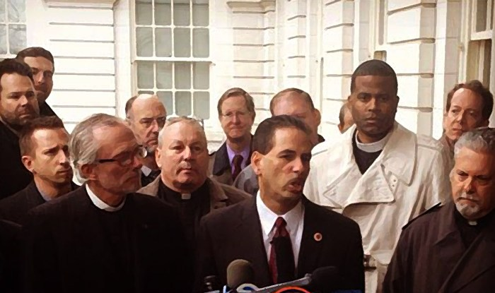 Right to Worship group holds press conference at City Hall. Front row: Pastor Bill Devlin (l); Council member Fernando Cabrera (c); Pastor Rick Del Rio (r). Photo illustration: A Journey through NYC religions