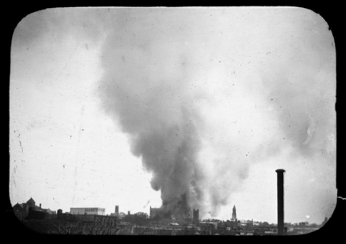 The burning down of Talmage's Brooklyn Tabernacle cast a shadow over Brooklyn.      Gel from Library of Congress, 1894