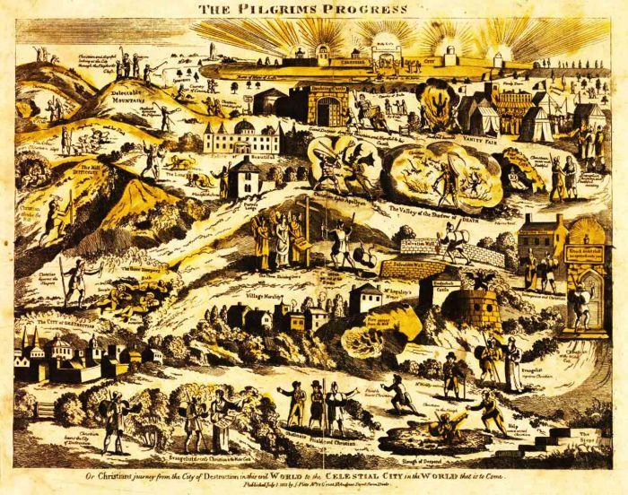 "19th Century map of John Bunyan's ""Pilgrim's Progress"""