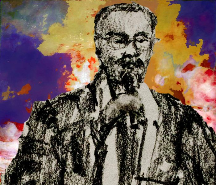 Preacher in New York glory. Sketch of Bronx pastor by Darilyn Carnes, background painting by Henry Ossawa Tanner in Brooklyn, collage by Tony Carnes/A Journey through NYC religions