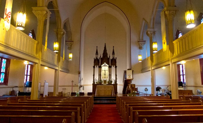 Sanctuary, St. John the Evangelist Lutheran Church, evening, Saturday, March 18, 2015