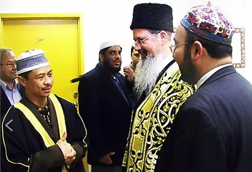 Imam with Bukharin Jews in Queens.