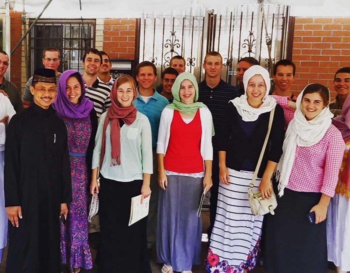 Imam at Ramadan evening meal with Mennonites at Jamaica Muslim Center, Queens.